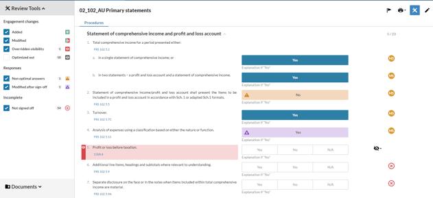 Disclosure Checklist screenshot